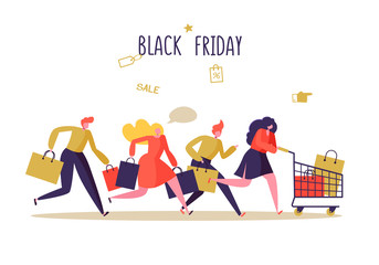 Black Friday Sale Event. Flat People Characters with Shopping Bags. Big Discount, Promo Concept, Advertising Poster, Banner. Vector illustration