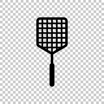 Fly swatter icon. On transparent background.