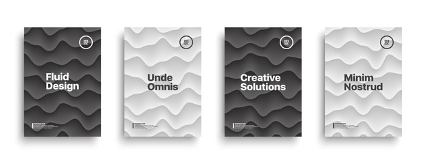 Black and White Vector Design Templates Set for Brochure, Flyer, Cover, Book. Abstract Conceptual Subtle Background