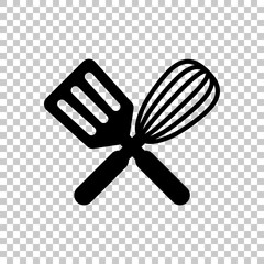 Kitchen tool icon. Whisk and spatula, criss and cross. On transp