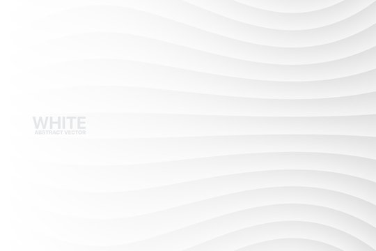 White Clear Blank Subtle Geometric Abstract Vector Background. Monotone Soft Light Wavy Surface. 3D Sci-Fi Futuristic Conceptual Illustration. Minimalist Wallpaper