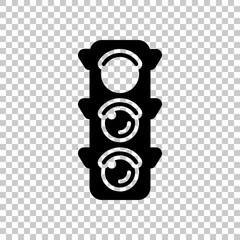 Traffic light icon. Sign of stop, red or stand. On transparent b