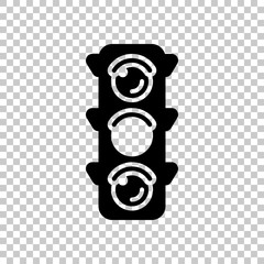 Traffic light icon. Sign of wait, yellow or ready. On transparen
