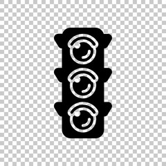 Traffic light icon. On transparent background.
