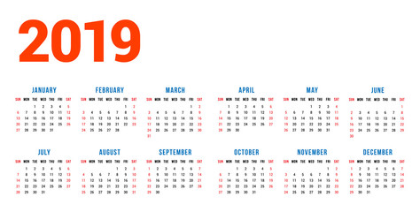 Calendar for 2019 year on white background. Week starts on Sunday. 6 columns, 2 rows. Simple calendar vector design element for your poster, flyer, planner, card. Stationery design template