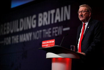 Len McCluskey, general secretary of the Unite Union, speaks at the Labour Party's conference in Liverpool