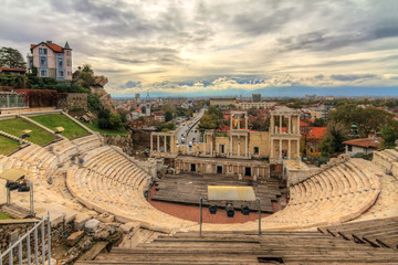 Beautiful cityscape of Plovdiv, Bulgaria, in the medieval part of the city called Old Town, with the ancient Roman theatre