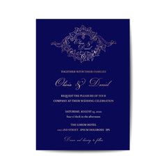 Wedding Monogram Vintage Invitation Card, Save the Date Template, Golden Foil Design in vector