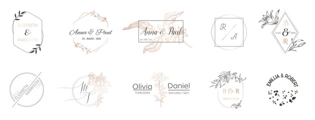 Wedding monogram collection, Modern Minimalistic and Floral templates for Invitation cards, Save the Date, Logo identity for restaurant, boutique, cafe in vector