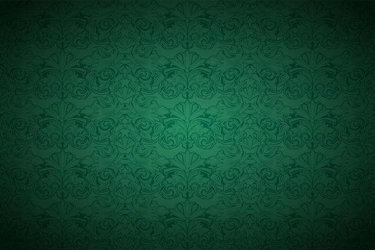 Green vintage background , royal with classic Baroque pattern, Rococo with darkened edges background(card, invitation, banner). horizontal format