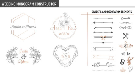 Wedding Monogram Constructor, Modern Minimalistic Collection of templates for Invitation cards, Save the Date, Logo identity in vector