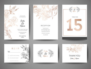 Luxury Wedding Save the Date, Invitation Cards Collection with Gold Foil flowers and Monogram Logo vector design template