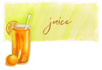 Orange juice glass with drinking straw isolated on white background hand drawn illustration