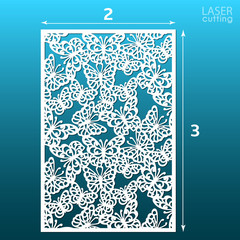 Laser cut ornamental panel template with butterfly pattern. May be use for die cutting. Lazer cut card. Template for wedding invitation. Cabinet fretwork screen. Lasercut metal panel. Wood carving.