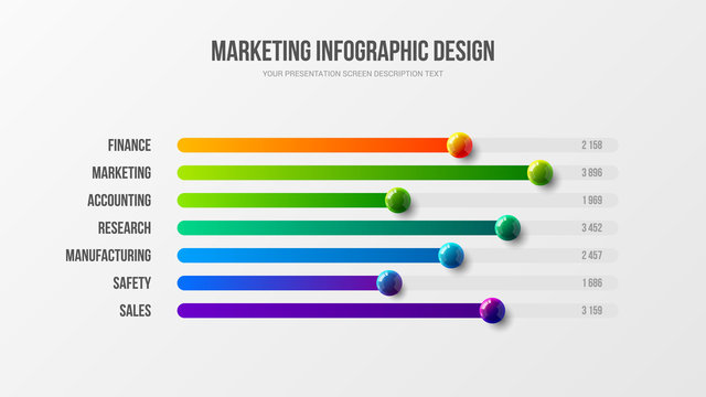Business infographic presentation vector 3D colorful balls illustration. Corporate marketing analytics report horizontal bar chart design layout. Statistics information graphic visualization template.