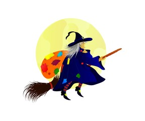 Flat illustration of Befana flying on a broom with a bag on her back.