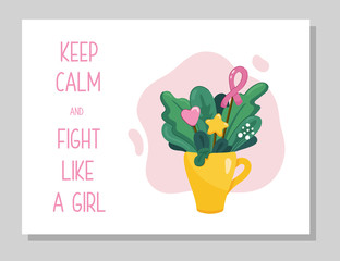 Bouquet of leaves, grass and flowers in yellow teacup with pink ribbon, heart and star in modern flat style. Cute card illustration for October Breast cancer awareness month. Vector isolated on white