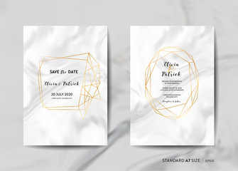 Wedding Invitation Cards Collection. Save the Date, RSVP, Signs with trendy marble texture background and gold geometric frame design illustration in vector