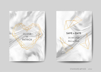 Wedding Invitation Cards, Art Deco Style Save the Date with trendy marble texture background and gold geometric frame design illustration in vector