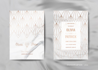 Wedding Invitation Cards Collection. Save the Date, RSVP with trendy marble texture background and gold geometric art deco frame design illustration in vector
