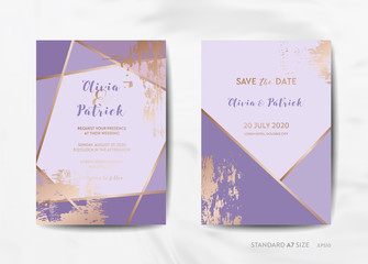 Wedding Invitation Cards Collection. Save the Date, RSVP with trendy violet texture background and gold geometric art deco frame design illustration in vector