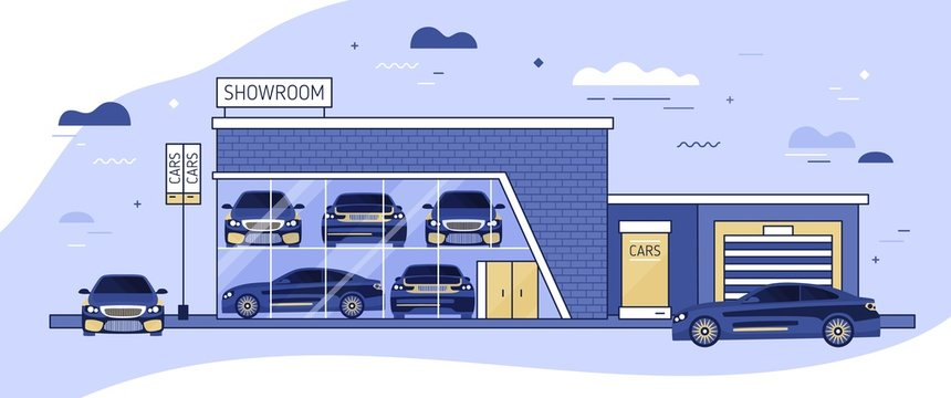 Facade of auto showroom or vehicle local distribution and automobiles parked beside it. Modern building of car dealership with window. Automotive retail. Colorful vector illustration in flat style.