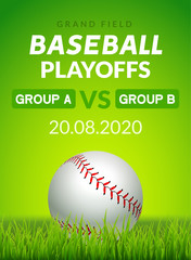 Baseball flyer poster design game tournament. Vector baseball banner sport invitation illustration