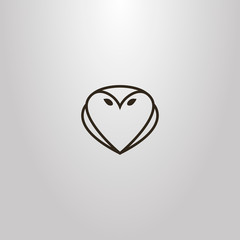 black and white simple vector line art outline sign of owl shape