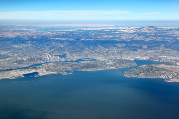 San Francisco Bay Area: Aerial View of east bay region showing the cities of Oakland, Berkeley and Alameda Island