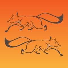 Fox art sign in curve lines vector