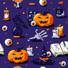 Halloween image set on violet background. Vector hand drawn objects: zombie hand,  candles, raven, potion, eyeball, scroll, crystal ball, tombstone and scary tree. Halloween lettering.