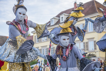 """Ludwigsburg, Baden Wuerttemberg/Germany - 09-08-2018,  the famous """"Venezianische Messe""""takes place on the Baroque Market place of Ludwigsburg with thousands of visitors and about 1000 masked people"""