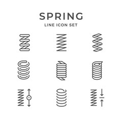 Set line icons of spring