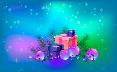A bright Christmas card in blue shades with gift boxes, a pine branch and crystal Christmas balls.Horizontal orientation.