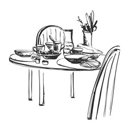 Hand Drawn wares sketch. Romantic dinner. Serving. Food and drink