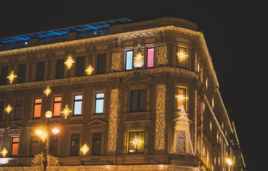 Building facade in Sankt-Petersburg, Russia at night time.
