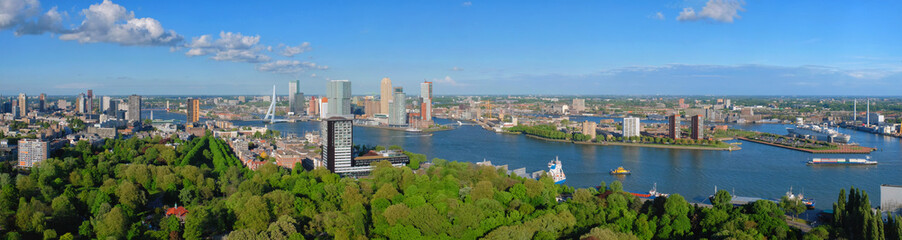 Deurstickers Rotterdam Aerial panorama of Rotterdam city and the Erasmus bridge