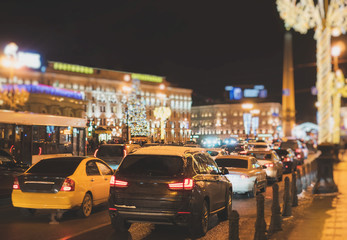 Big traffic jam in the evening at festive Nevsky prospect.