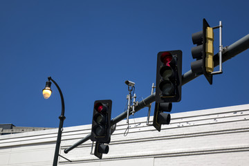 red traffic lights and security camera