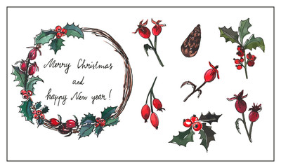 Vector design elements set. Christmas and New year decor.