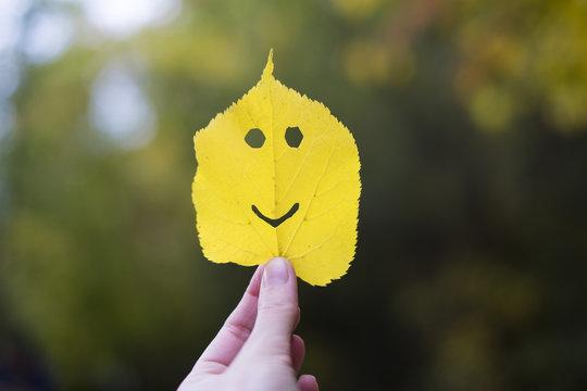 Autumn leaf emoji, smiley in a hand