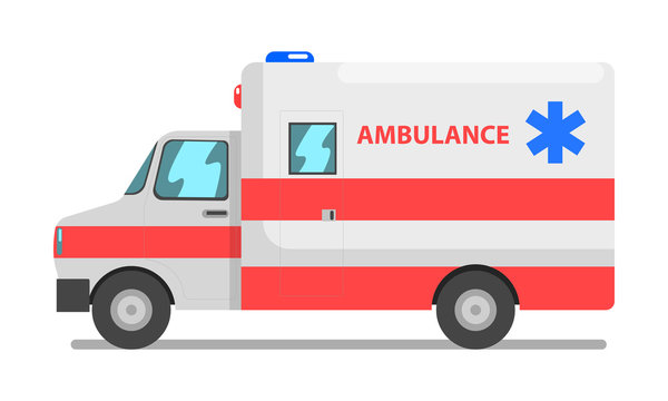 Emergency car, red and white ambulance medical service vehicle vector Illustration on a white background