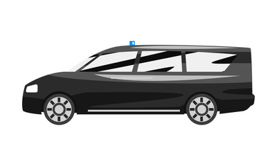 Black executive minivan with blue flasher siren, business luxury vehicle side view vector Illustration on a white background