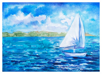 Summer Landscape: Small Tall Ship with White Sail Floating at Deep Blue Sea, Watercolor Drawn and Painted
