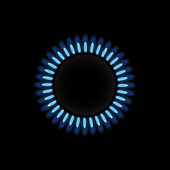 fire of a gas cooker on a black background