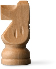 Wooden chess piece, horse, isolated
