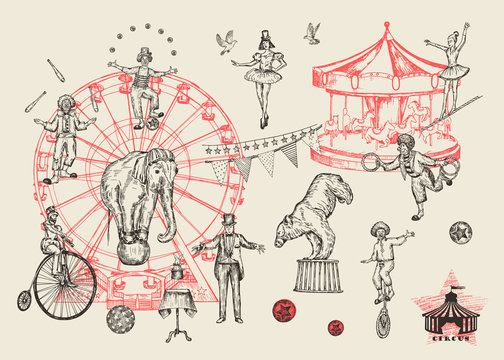 Retro circus performance set sketch stile vector illustration. Hand drawn imitation. Human and animals.