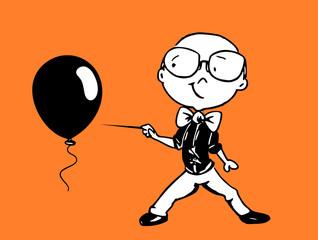 Jongen prikt ballon stuk, illustratie cartoon karakter - pentekening met zwarte inkt.