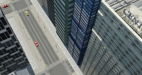 Aerial 3D City Render With Skyscrapers
