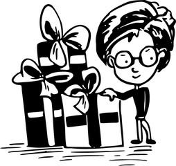 Jongen met cadeaus, illustratie cartoon karakter - pentekening met zwarte inkt.